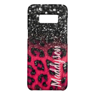 Faux Pink Black Glitter Leopard Spots Teen Girls Case-Mate Samsung Galaxy S8 Case