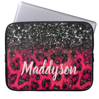 Faux Pink Black Glitter Leopard Spots Teen Girls Laptop Sleeve
