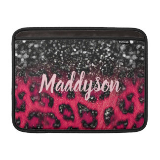 Faux Pink Black Glitter Leopard Spots Teen Girls Sleeve For MacBook Air