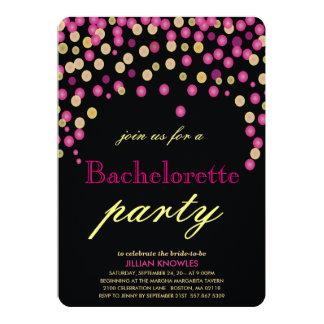 Faux Pink Confetti Bachelorette Party Card