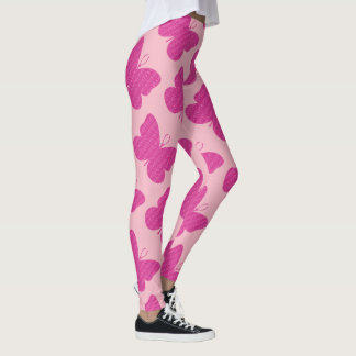 Faux Pink Glitter Butterfly Leggings