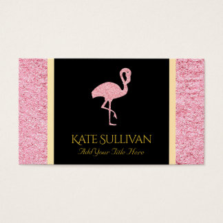 faux pink glitter flamingo business card