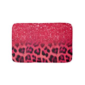 Faux Pink Glitter Leopard Spots For Teen Girls Bath Mat
