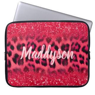 Faux Pink Glitter Leopard Spots For Teen Girls Laptop Sleeve