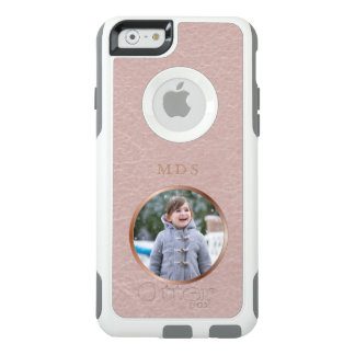 Faux Pink Leather Rose Gold Monogram Photo Upload OtterBox iPhone 6/6s Case