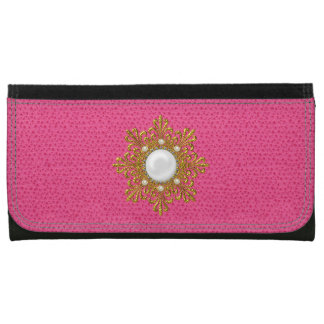 Faux Pink Leather with Gold and Pearls Wallet