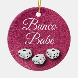 Faux Pink Metal Chic and Elegant Bunco Dice Ceramic Ornament