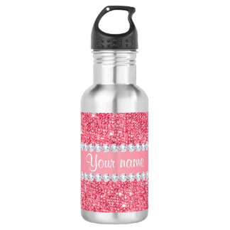 Faux Pink Sequins and Diamonds 532 Ml Water Bottle
