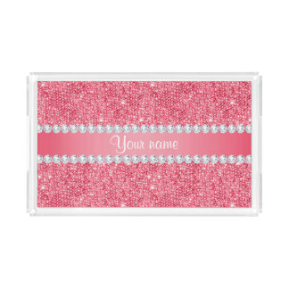 Faux Pink Sequins and Diamonds Acrylic Tray