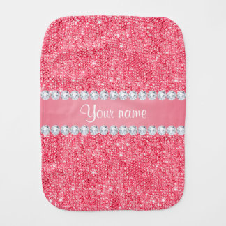 Faux Pink Sequins and Diamonds Burp Cloths