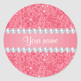 Faux Pink Sequins and Diamonds Classic Round Sticker
