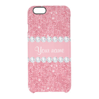 Faux Pink Sequins and Diamonds Clear iPhone 6/6S Case