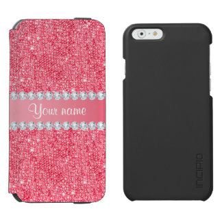 Faux Pink Sequins and Diamonds Incipio Watson™ iPhone 6 Wallet Case