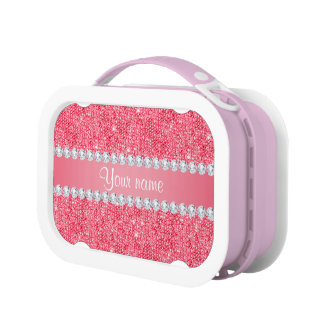 Faux Pink Sequins and Diamonds Lunchbox