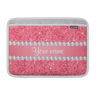 Faux Pink Sequins and Diamonds MacBook Sleeve