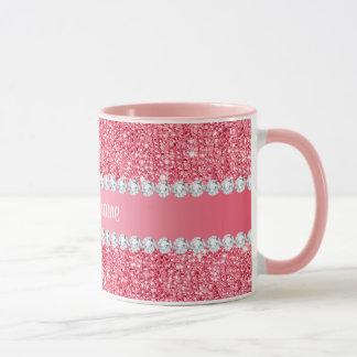Faux Pink Sequins and Diamonds Mug
