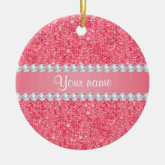 Faux Pink Sequins and Diamonds Round Ceramic Ornament