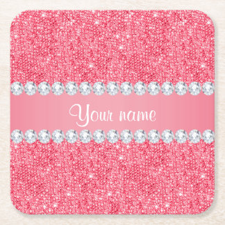 Faux Pink Sequins and Diamonds Square Paper Coaster