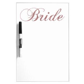 Faux Pink Sparkles Bride Dry Erase Board