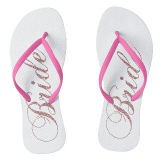 Faux Pink Sparkles Bride Flip Flops