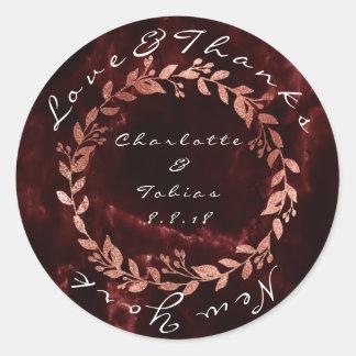 Faux Pink Wedding Thanks Marble Burgundy Maroon Classic Round Sticker