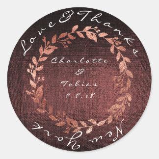 Faux Pink Wedding Thanks Metallic Burgundy Maroon Classic Round Sticker