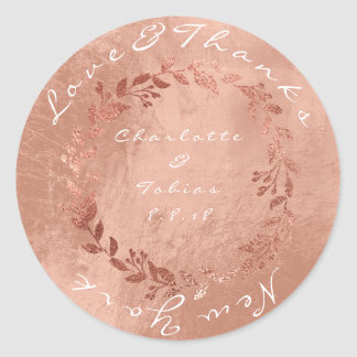 Faux Pink Wedding Thanks Metallic Copper Gold Classic Round Sticker