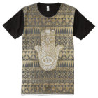Faux Print Gold Hamsa Hand and Tribal Aztec All-Over-Print T-Shirt