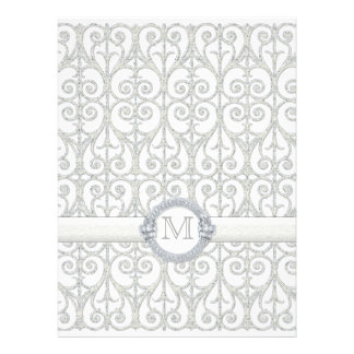 Faux Printed Diamonds Lace Monogrammed Wedding Personalized Announcements