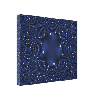 Faux Punched Tin Navy Blue Wrapped Canvas