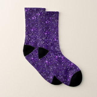 Faux Purple Glitter And Glamour Socks 1
