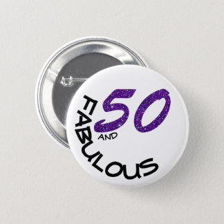 Faux Purple Glitter & White 50th Birthday Party 2 Inch Round Button