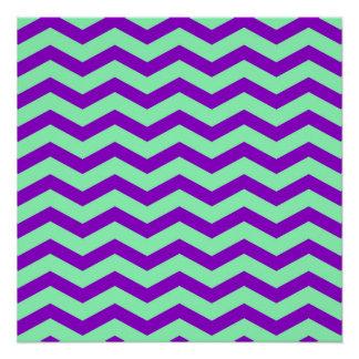 Faux Purple Mint Green Foil Chevron Zig Zag Poster
