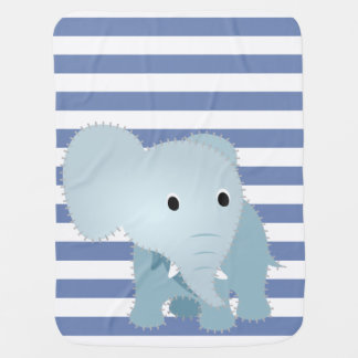 Faux Quilted Blue Elephant on Blue Stripes #2 Baby Blanket