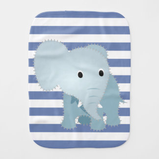 Faux Quilted Blue Elephant on Blue Stripes Burp Cloth