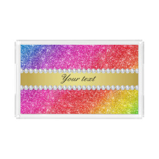 Faux Rainbow Glitter Diamonds Personalized Acrylic Tray