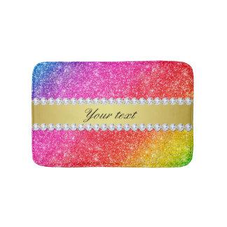 Faux Rainbow Glitter Diamonds Personalized Bath Mat