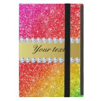 Faux Rainbow Glitter Diamonds Personalized Case For iPad Mini