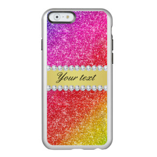 Faux Rainbow Glitter Diamonds Personalized Incipio Feather® Shine iPhone 6 Case