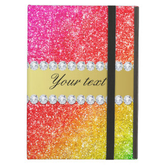 Faux Rainbow Glitter Diamonds Personalized iPad Air Cover