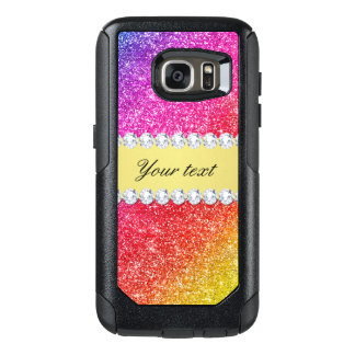 Faux Rainbow Glitter Diamonds Personalized OtterBox Samsung Galaxy S7 Case