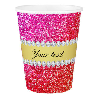 Faux Rainbow Glitter Diamonds Personalized Paper Cup