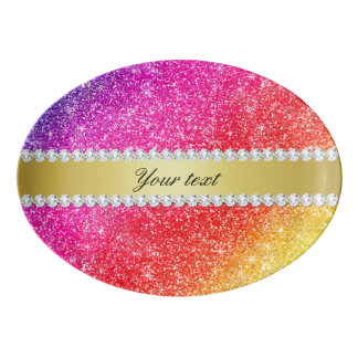Faux Rainbow Glitter Diamonds Personalized Porcelain Serving Platter