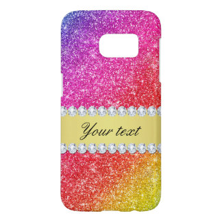 Faux Rainbow Glitter Diamonds Personalized Samsung Galaxy S7 Case