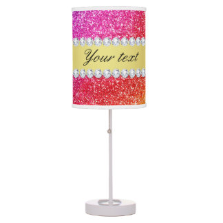 Faux Rainbow Glitter Diamonds Personalized Table Lamp