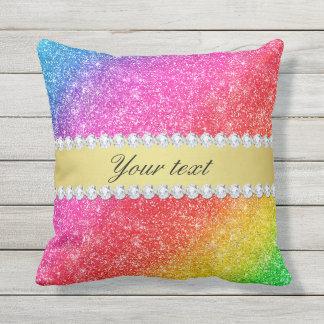 Faux Rainbow Glitter Diamonds Personalized Throw Pillow