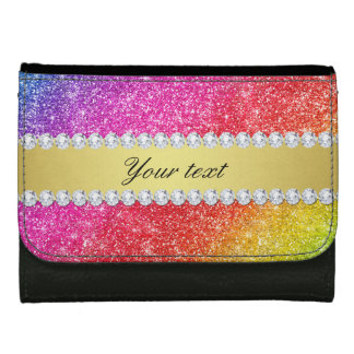 Faux Rainbow Glitter Diamonds Personalized Wallets