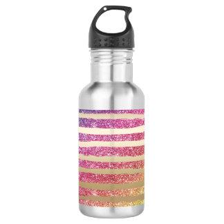 Faux Rainbow Glitter Gold Stripes 532 Ml Water Bottle
