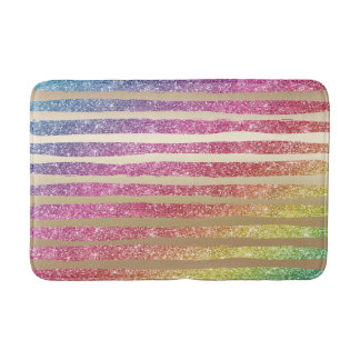 Faux Rainbow Glitter Gold Stripes Bath Mat