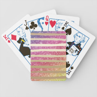 Faux Rainbow Glitter Gold Stripes Bicycle Playing Cards